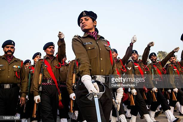 Indian soldiers practice marching in preparation for the upcoming Republic Day parade on January 21 2013 in New Delhi India Republic Day is...