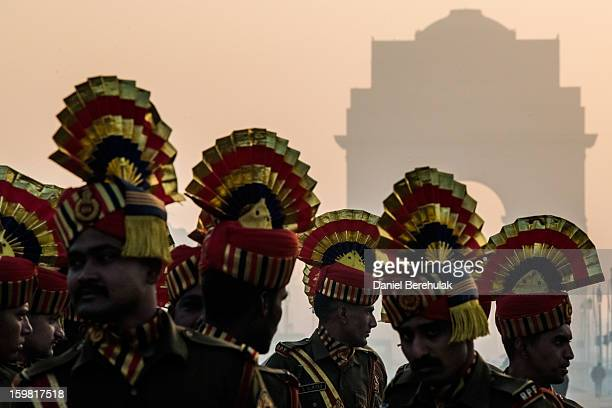 Indian soldiers regroup to practice marching in preparation for the upcoming Republic Day parade on January 21 2013 in New Delhi India Republic Day...