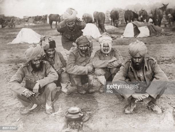 Indian soldiers serving with the British Army at camp during World War I circa 1916