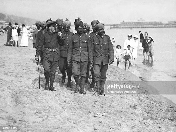 Indian soldiers who were wounded fighting at Flanders recuperating at Bournemouth in England Bournemouth England circa 1917