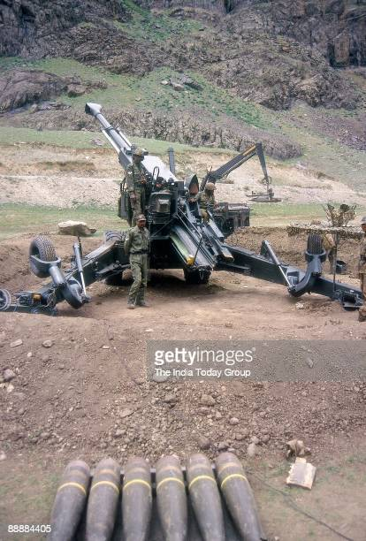 Indian Soldiers with Bofors guns waiting for orders to fire during the Kargil War