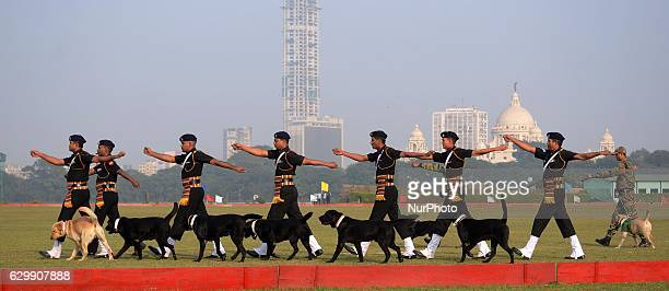 Indian soldiers with dog squad participated during 'Vijay Diwas' celebrations in Kolkata India on Wednesday 14th December 2016 The Indian army will...