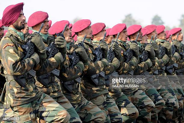 Indian Special Forces soldiers march during the Army Day parade in New Delhi on January 15 2012 The Indian army celebrated the 64rd anniversary of...