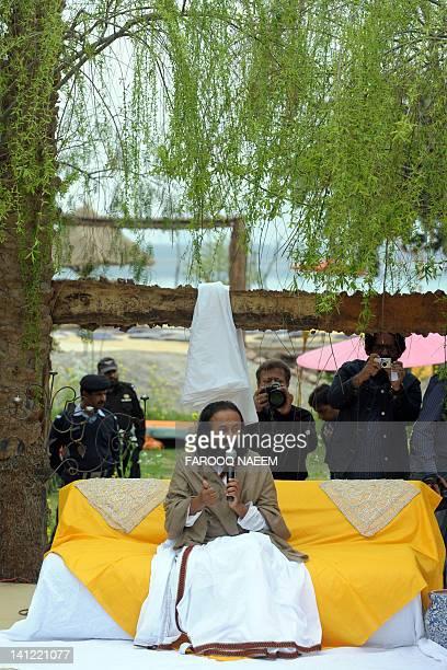 Indian spiritual guru and Art of Living Foundation leader Sri Sri Ravi Shankar talks during the inauguration of the Foundation Center in Bani Gala...