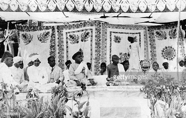 Indian spiritual leader Mahatma Gandhi attending the opening ceremony of the AllIndia village industrial exhibition at Indore