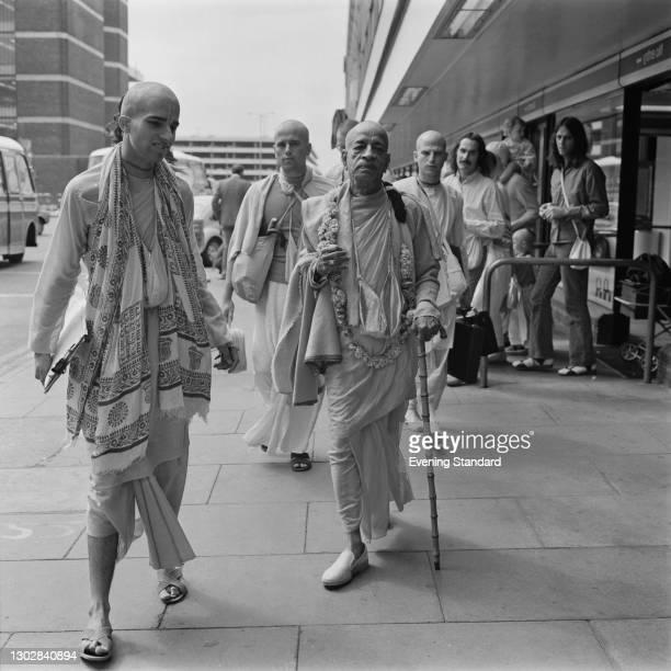 Indian spiritual teacher AC Bhaktivedanta Swami Prabhupada , the founder of the International Society for Krishna Consciousness , in the UK, 6th July...