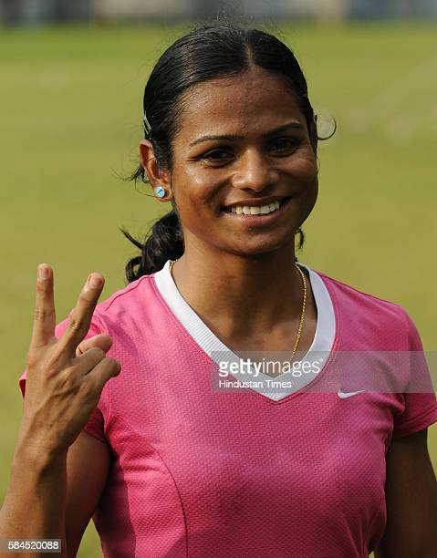 Indian sprinter Dutee Chand at SAI ground on September 16 2015 in Kolkata India Chand defied all odds to qualify for the womens 100 metres event at...