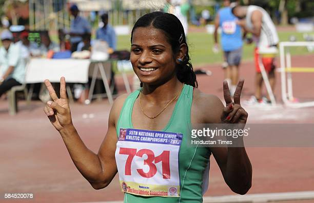 Indian sprinter Dutee Chand seen in action during a training session at 55th National Open Athletics Championships SAI Complex on September 16 2015...