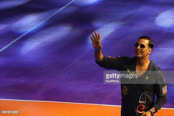 Indian Star Actor Akshay Kumar at the Pro Kabaddi Gujrat Fortune Giants v Haryana Steelers on at Netaji Indoor Stadium on September 022017 in...