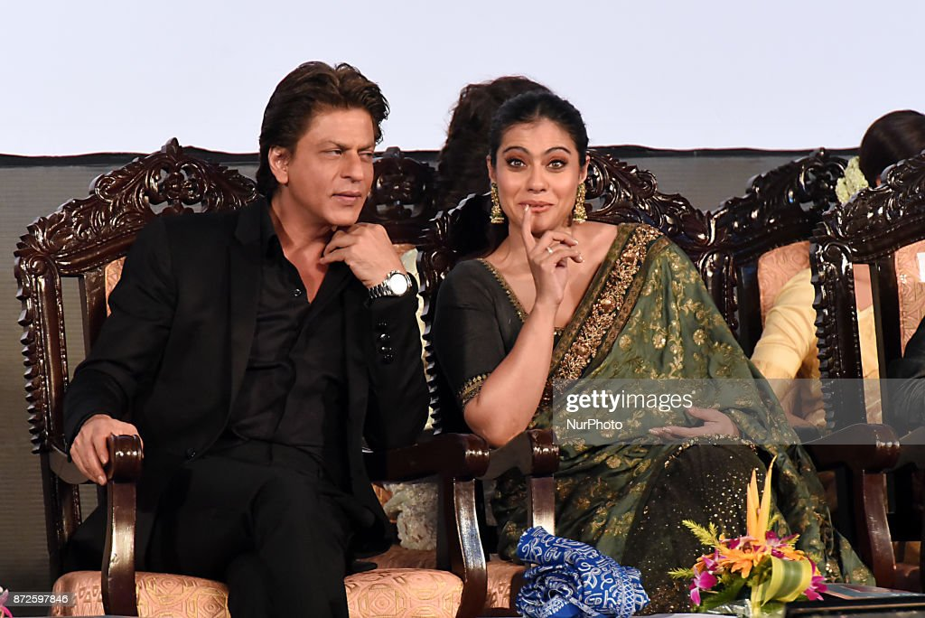 Indian star Actor Shah Rukh Khan and Actress Kajol at the Inauguration Ceremony 23rd Kolkata International Film Festival on November 102017 in...