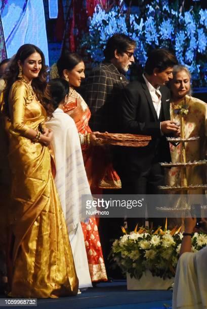 Indian Star Amitab BachchanJaya Bachchan Shah Rukh Khan Mamata Banerjee Chief Minister of West BengalActress Rituparna Sengupta and Nusrat at the...