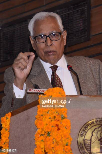 Indian state of Jammu and Kashmir Governor Narinder Nath Vohra delivers his address during celebrations for the 44th Foundation Day of Guru Nanak Dev...