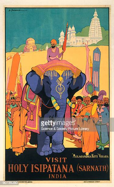 Indian State Railways poster �Visit Holy Isipatana � by D Newsome