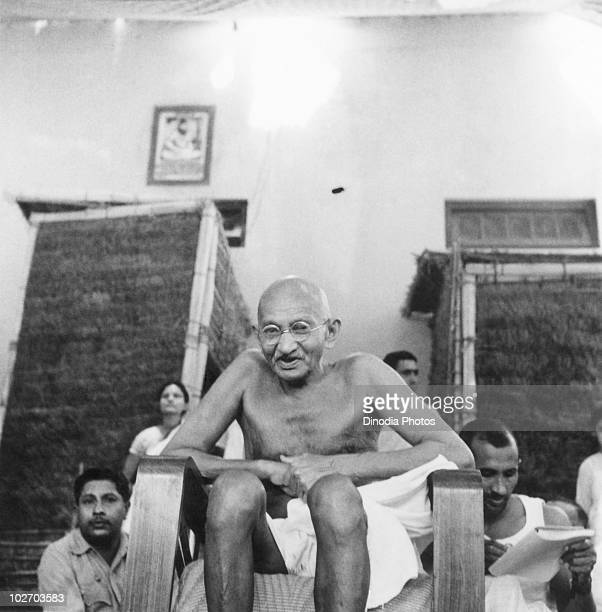 Indian statesman and activist Mohandas Karamchand Gandhi at Bhangi sweeper's colony New Delhi 1946