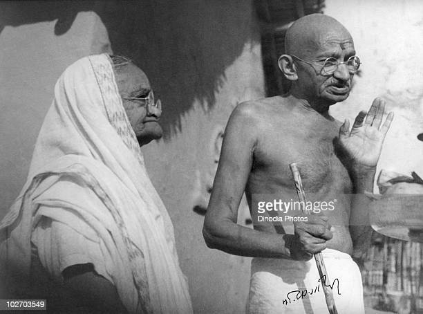 Indian statesman and activist Mohandas Karamchand Gandhi with his wife Kasturba Gandhi at Sevagram Ashram January 1942