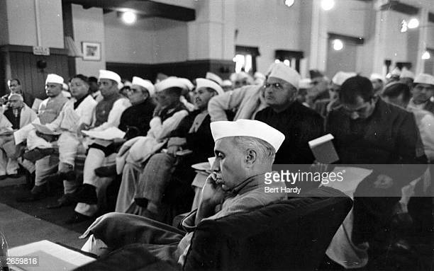 Indian statesman Jawaharial Nehru attending the Constituent Assembly meeting at the Council House Library New Delhi to frame a constitution for...