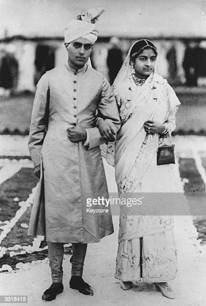 Indian statesman Jawaharlal Nehru known as Pandit Nehru and his wife Kamala on their wedding day