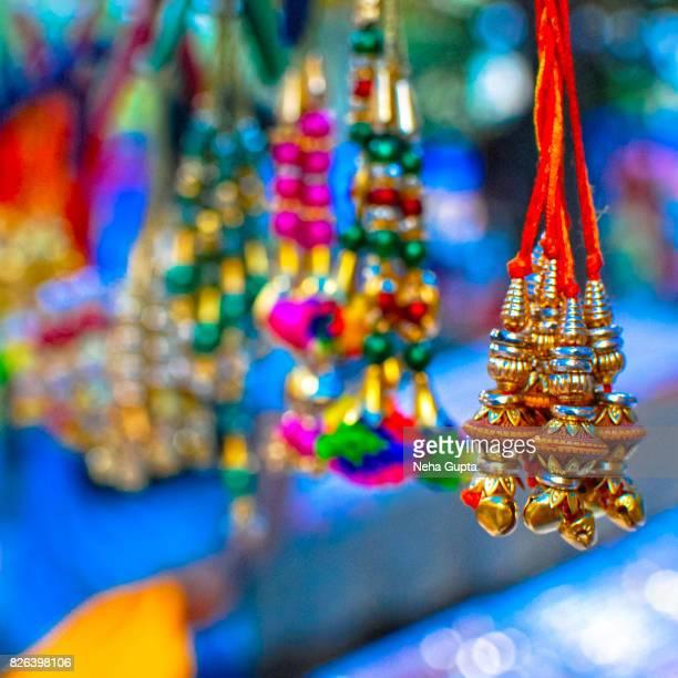indian street market on raksha bandhan - raksha bandhan stock photos and pictures