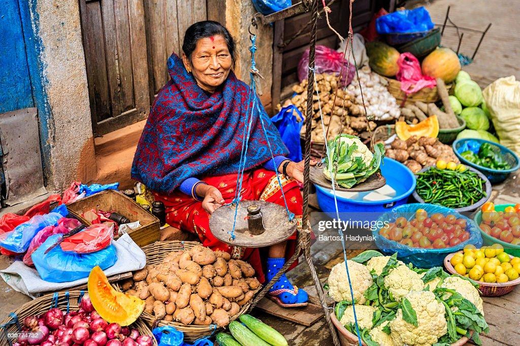 Indian street seller in Kathmandu : Stock Photo