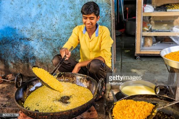 indian street vendor preparing food, jaipur, india - street food stock photos and pictures