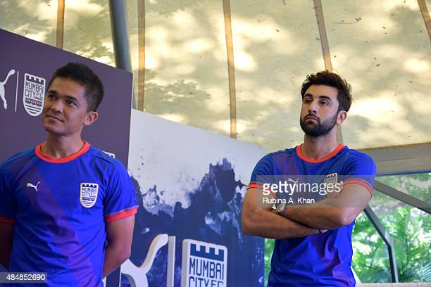 Indian strike Sunil Chhetri and Bollywood star and coowner of the Mumbai City FC team Ranbir Kapoor at the unveiling of the new Puma Mumbai City FC...