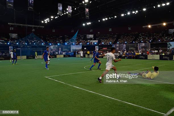 Indian striker Sunil Chhetri and goalie Subrata Paul at the exhibit football match held in honour of French football legend and Real Madrid coach...