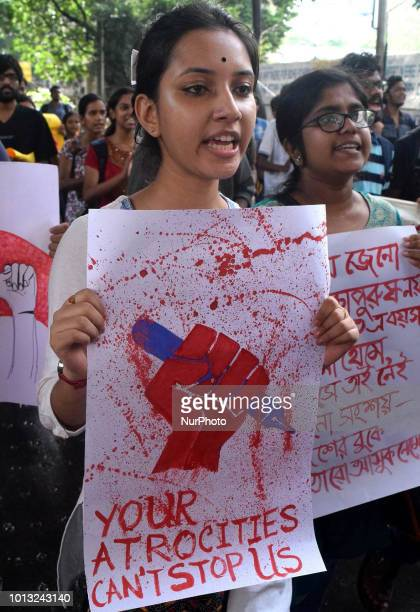 Indian students a rally in support of the ongoing students movement in Bangladesh near the Deputy High Commission Of Bangladesh office on August...