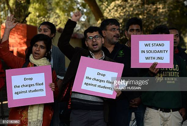 Indian students hold placards during a protest aganist the arrest of the president of Jawaharlal Nehru University's Student Union Kanhaiya Kumar in...