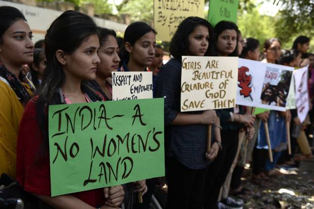 Indian students take part in a protest in Jalandhar on April 16 over the high profile rape cases in Jammu and Kashmir and Uttar Pradesh states Indian.