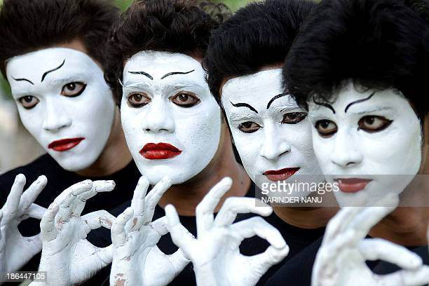 Indian students wait their turn to perform a mime act during a Youth Festival competition at a university in Amritsar on October 31 2013 Eleven teams...