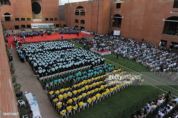 Indian students wait to graducate during the 48th graduation ceremony for Indian Institute of Management Ahmedabad in Ahmedabad on March 23 2013 The...