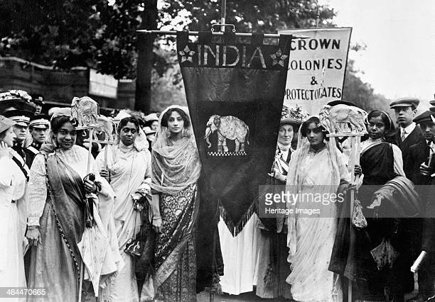 Indian suffragettes on the Women's Coronation Procession London 17th June 1911 Mrs Fisher Unwin who had links with India was in charge of this...