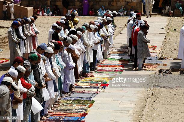 Indian Sufi Muslim pilgrims pray special prayers outside the AdhaiDin Ka Jhonpra Mosque near the Ajmer Sharif during the 803 Urs Festival in Ajmer