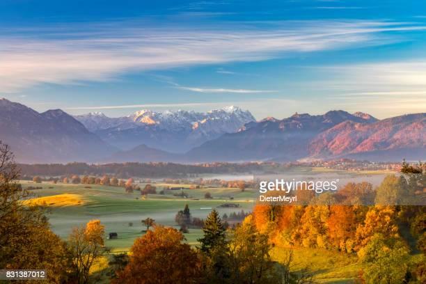 indian summer with zugspitze in background - garmisch partenkirchen stock pictures, royalty-free photos & images