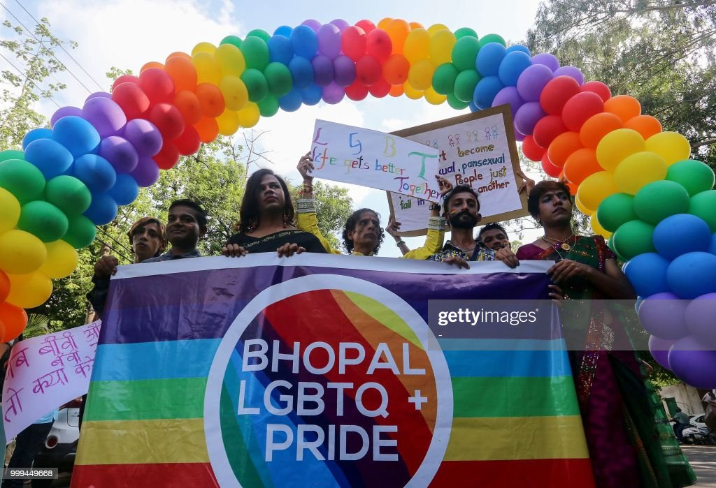 Indian supporter of the lesbian, gay, bisexual, transgender (LGBT) community take part in a pride parade in Bhopal on July 15, 2018. - Supreme court of India is hearing petitions for the protection of the rights of lesbian, gay, bisexual, transgender, and queer people.