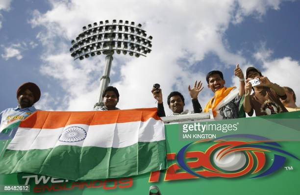 Indian supporters before the start of the match between England and India during the Super 8 stage of the ICC World Twenty20 Cup at Lord's cricket...