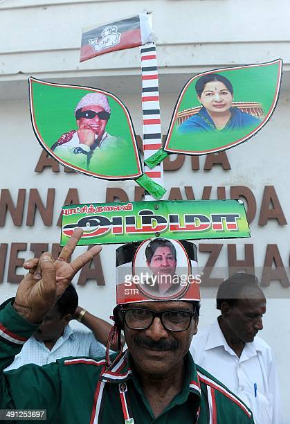 Indian supporters of Chief Minister of the southern Indian state of Tamil Nadu and the General Secretary of The All India Anna Dravida Munnetra...
