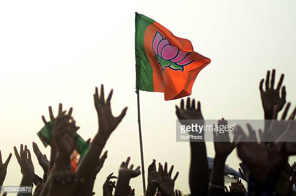 Indian supporters of of Bhartiya Janta Party cheer up during Indian Prime Minister Mr Narendra Modi's speech in a public rally named as...