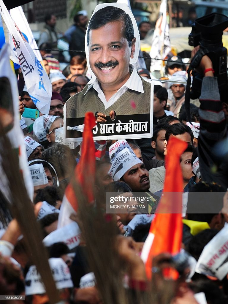 Indian Supporters Of The Aam Aadmi Party Wave Brooms The Party