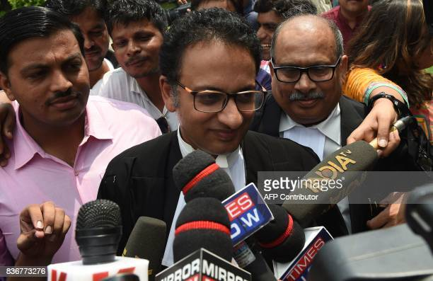 Indian Supreme Court advocate Saif Mahmood meets with the press outside the Supreme Court in New Delhi on August 22 2017 India's top court on August...