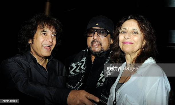 Indian tabla maestro Ustad Zakir Hussain with his wife Antonia Minnecola attend 75th birthday celebrations for Indian jazz musician Louiz Banks in...