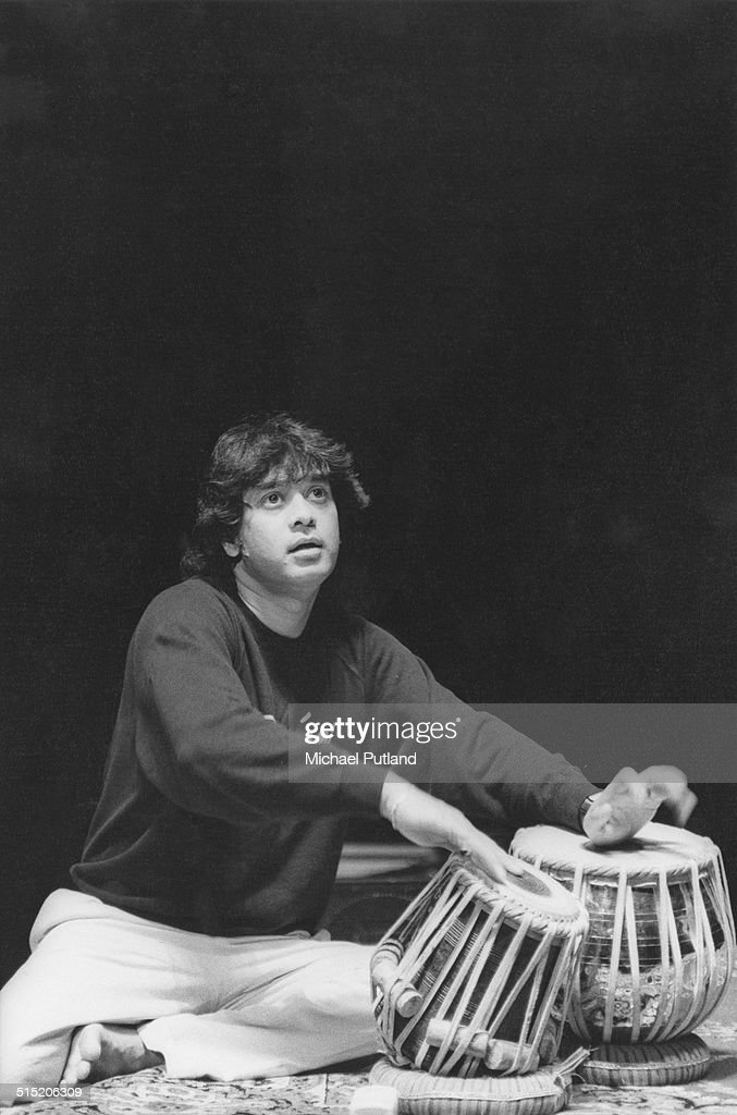 Indian tabla player and composer Zakir Hussain performing in London, 1991.