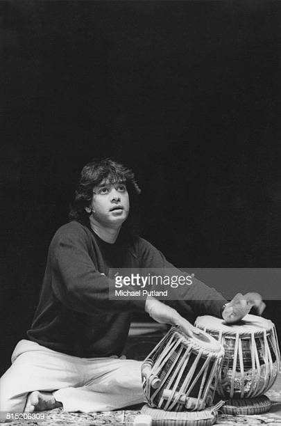 Indian tabla player and composer Zakir Hussain performing in London 1991