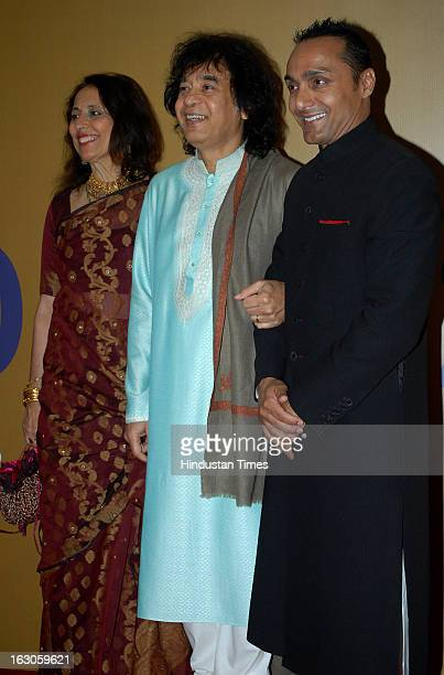 Indian tabla player and composer Zakir Hussain with his wife Antonia Minnecola and bollywood actor Rahul Bose during a music concert for 'EQUATION...
