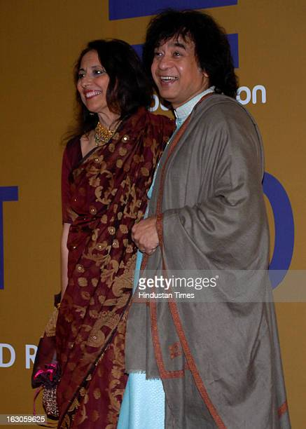 Indian tabla player and composer Zakir Hussain with his wife Antonia Minnecola during a music concert for 'EQUATION 2013A FUNDRAISER FOR EQUALITY'...