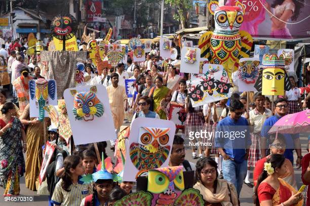Indian take a part in the colorful a possession and celebrates the Bengali New Years on April 152018 in KolkataIndia