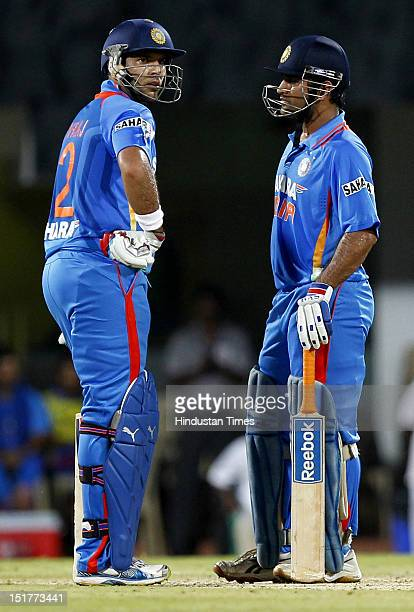 Indian team captain MS Dhoni and Yuvraj Singh during the 2nd T20 match played between India and New Zealand at MA Chidambaram Stadium on September 11...