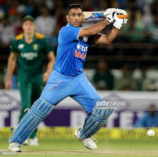 Indian team captain MS Dhoni in action during the 3rd One Day International cricket match against South Africa at Saurashtra Cricket Association...
