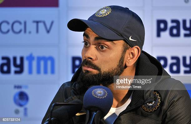 Indian Team Captain Virat Kohli addresses during press conference after the practice session at PCA Mohali on November 25 2016 in Chandigarh India