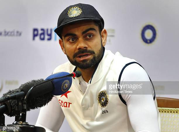 Indian team captain Virat Kohli addressing a press conference after last day play of the 2nd Test match between India and South Africa has been...